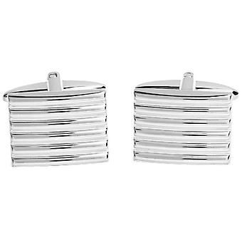 David Van Hagen Shiny Ribbed Rectangle Cufflinks - Silver