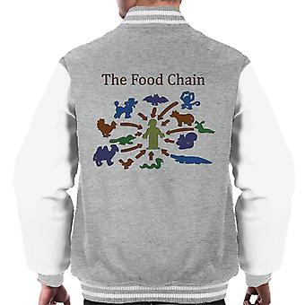 The Food Chain Ends With Man Men's Varsity Jacket