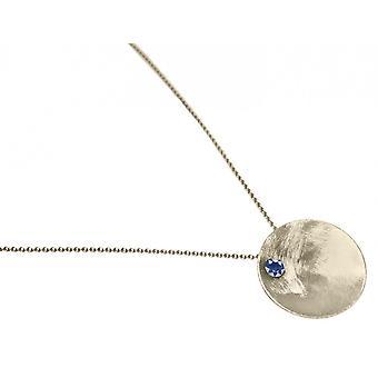 Damen - Halskette - Anhänger - 925 Silber - SCHALE - Iolith - Blau - 45 cm