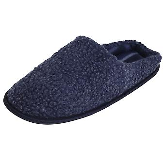 SlumberzzZ Mens Fleece Slippers With Tartan Lining And Rubber Sole
