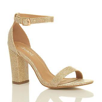 Ajvani kvinners blokkere høy hæl ankelen stroppen peep toe strappy sandaler sko pumper partiet