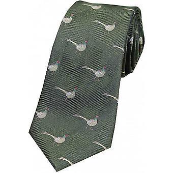 David Van Hagen Standing Male Pheasant Country Silk Tie - Green