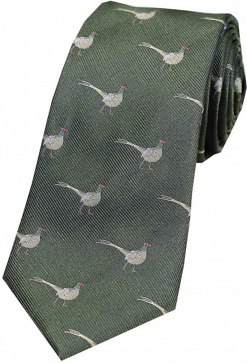 David Van Hagen Standing Male Pheasant Country Silk Tie - vert