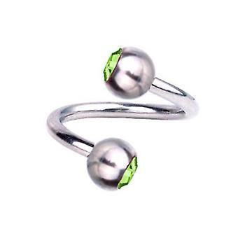 Spirale Twist Piercing Titan 1,6 mm, SWAROVSKI Elemente grün | 8 - 12 mm