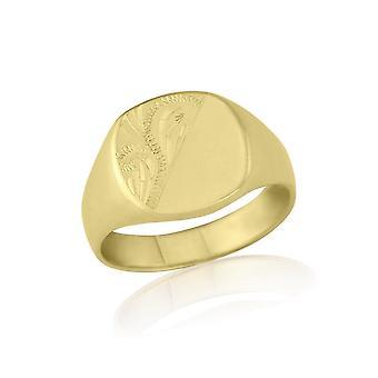 Star anneaux de mariage en forme de coussin 9ct poids lourd or jaune gravé chevalière