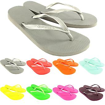 Womens Havaianas Slim Holiday Beach Flip Flops Summer Sandals Slip On
