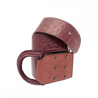 Opika Chestnut Brown Mock Croc D Ring Belt