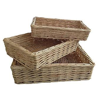 Rectangular Straight-Sided Wicker Tray Set of 3