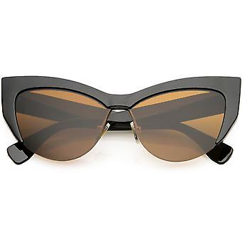 Women's Oversize Semi Rimless Cat Eye Sunglasses Neutral Colored Lens 56mm