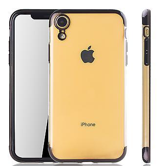 Cas de téléphone portable pour Apple iPhone XR noir - clair - housse de protection TPU silicone housse arrière transparent / brillant bord noir
