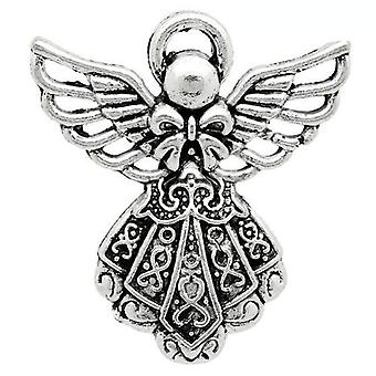 Packet 10 x Antique Silver Tibetan 26mm Angel Charm/Pendant ZX07090