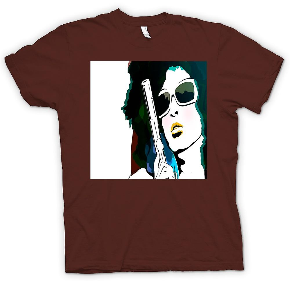 Heren T-shirt - popart Girl met pistool - Cool kunst