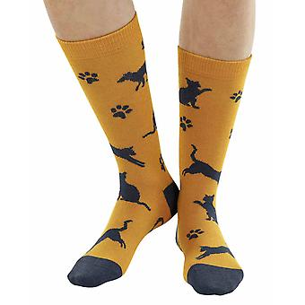 Meow Cat soft bamboo organic crew sock in yellow | seriouslysillysocks