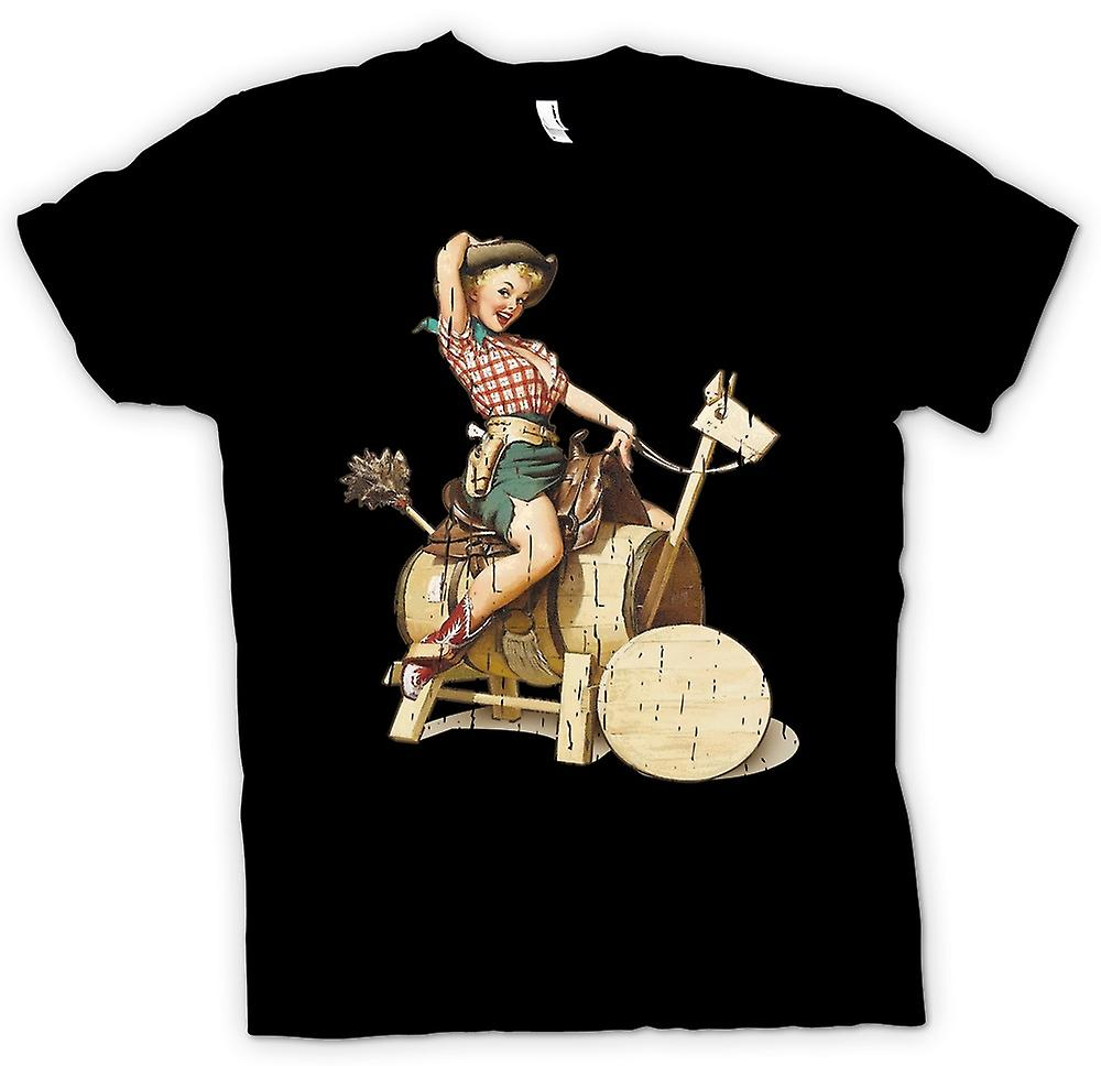 Mens T-shirt - Vintage Cow Girl Pin Up - Retro