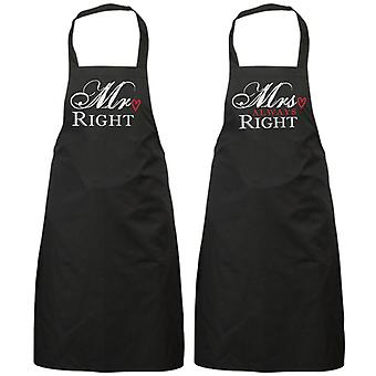 Couples Mr Right Mrs Always Right Black Apron Set