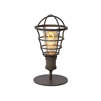 Lucide Zych Cottage Round Metal Rust Brown Table Lamp