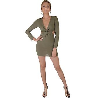 LMS Khaki Green Long Sleeve Bodycon Dress With Twist And Cut Out