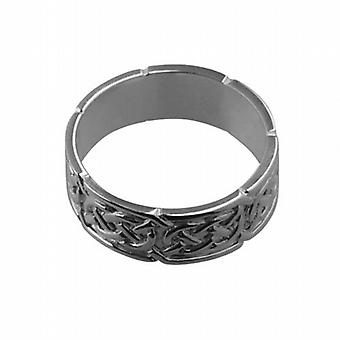 18ct White Gold 8mm Celtic Wedding Ring Size R