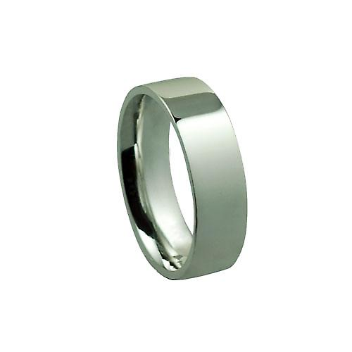 Silver 7mm plain Flat Court shaped Wedding Ring
