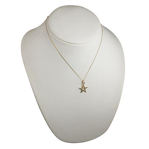 9ct Gold 19x19mm plain Pentangle Pendant with a curb Chain 18 inches