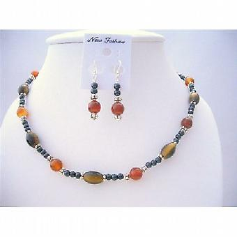 Ethnic Traditional Jewelry Set Genuine Tiger Eye Carnelian & Cultured Beads Necklace Set w/ Bali Silver Spacing Sterling Silver Earrings