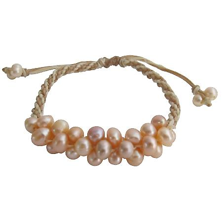 Hand Knitted Interwoven Braid Bracelet Peach Freshwater Pearl Jewelry
