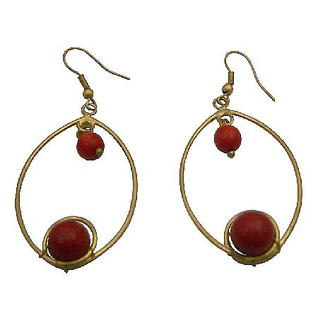 Winsome Intricate Design Coral Gold Oxidized Hoop Dangling Earrings