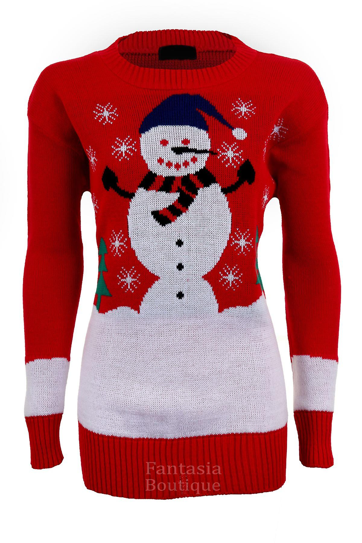 Ladies Long Sleeve Snowman Santa Reindeer Snow Christmas Women's Jumper