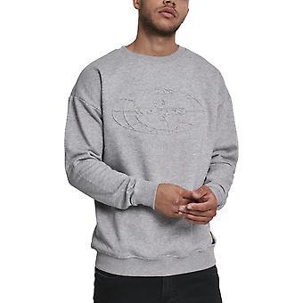 Wu-wear hip hop grey sweater - embossed crewneck