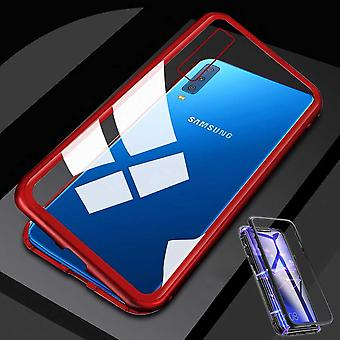 Für Samsung Galaxy M20 6.3 Zoll Magnet / Metall / Glas Case Bumper Transparent / Rot Tasche Hülle Neu