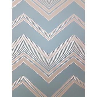 Zig Zag Chevron Wallpaper Light Blue Pearlescent Geometric Striped Fine Decor