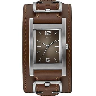 Guess watch W1165G1 - SADDLE UP steel gray Bracelet Brown dial Brown man leather case