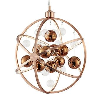 Endon Lighting Muni 10w LED Clear And Copper Glass Sphere Pendant Light