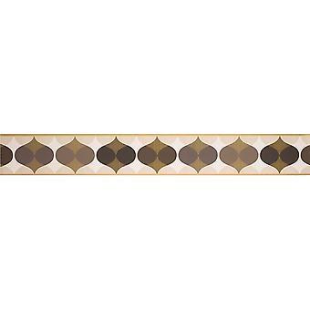 K2 geometryczne tapeta granica ornament retro czekolada brązowy krem Peel Stick