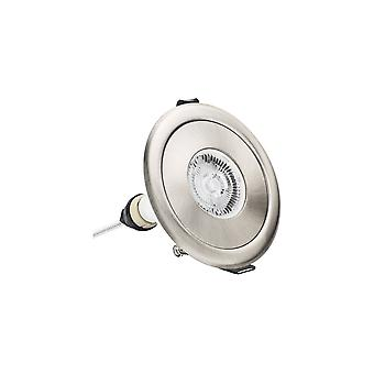 Integral - LED IP65 Fire Rated Downlight Spotlight Round Satin Nickel 70 100mm Cut out Adapter Nickel IP65 - ILDLFR70D006