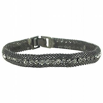 Park Lane Ladies Gun Metal Mesh Style Glass Set Bracelet