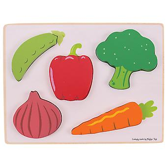 Bigjigs Toys Wooden Educational Chunky Lift and See Jigsaw Puzzle (Vegetables)