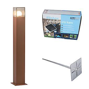 QAZQA Polo al aire libre 70cm Dinamarca moho marrón con conector de tierra y Cable
