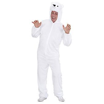 Plysch isbjörn (Hooded Jumpsuit med Mask)