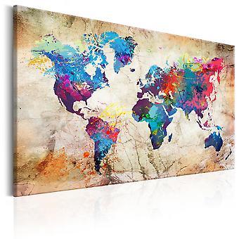 Lærred print-verdenskort: Urban stil