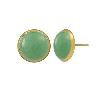 Eternal Collection Symphony Aventurine Gold Pierced Stud Earrings