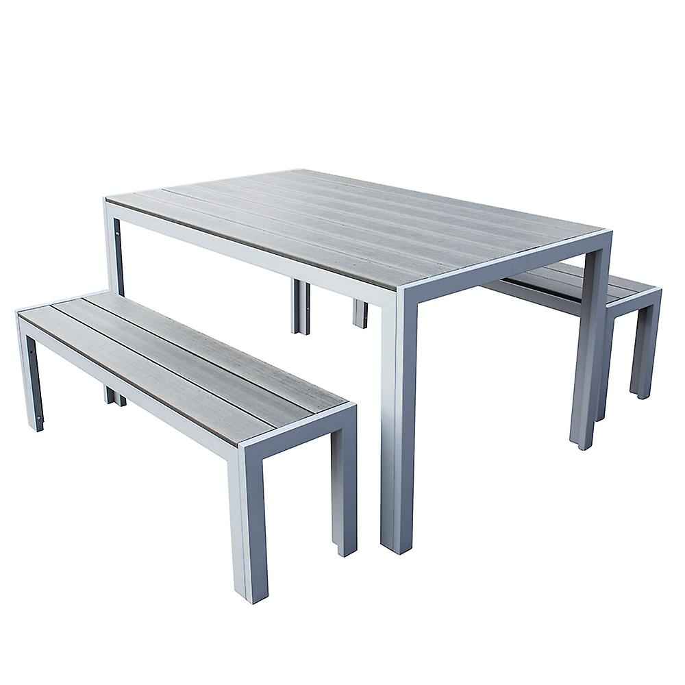 3 Piece Polywood Outdoor Dining Table Bench Set Durable Aluminium Frame in Grey