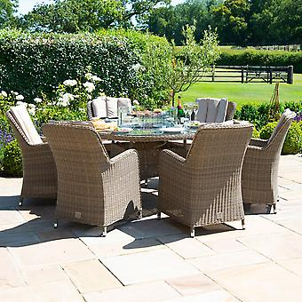 Maze Rattan Winchester 6 Seat Round Venice Dining Set with Fire Pit