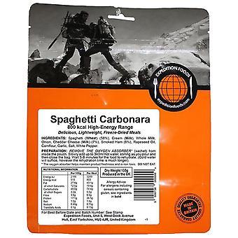 Expeditie voedingsmiddelen zwarte Spaghetti Carbonara