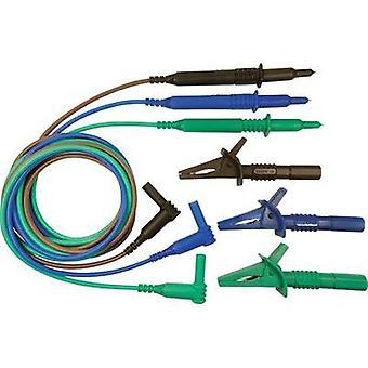 Safety test lead et [ 4 mm plug - Test probe] 1.5 m Blue, Green, Brown