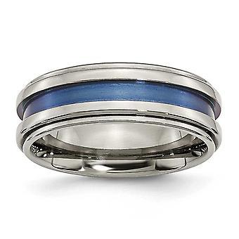 Titanium rillet anodiseret Engravable med blå tredobbelt Groove 8mm poleret Band Ring - ringstørrelse: 7-13