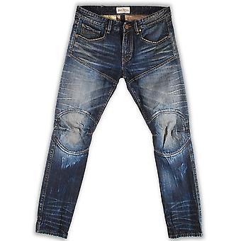 Rivet De Cru Skipper Moto Tapered Jeans Blue