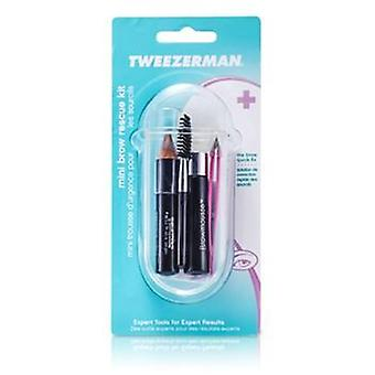 Tweezerman Mini Brow Rescue Kit: Slant Tweezer + Browmousse + Brow Brush + Eyenhance Brow Highlighter + Case - 4pcs+1case