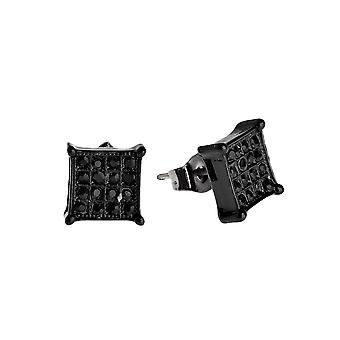 Iced out bling earrings box – SQUARE 8 mm black