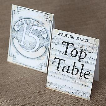 Vintage Wedding March Music Score Table Numbers Top Table 1 -15